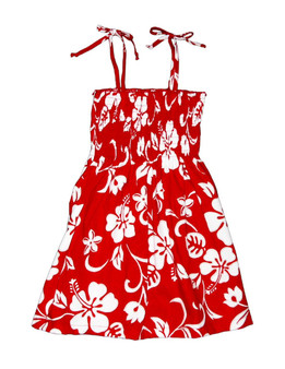 Smock Dress for Girls Classic Hibiscus 100% Rayon Fabric Tie On Shoulder Tie Halter Style Color: Red Sizes: 2 - 14 Made in Hawaii - USA