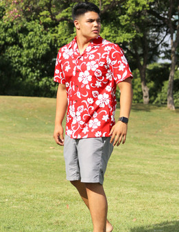 Aloha Shirt Classic Hibiscus 100% Cotton Fabric Open Pointed Folded Collar Genuine Coconut Buttons Seamless Matching Left Pocket Color: Red Sizes: S - 4XL Care: Machine Wash Cold, Cool Iron Made in Hawaii - USA
