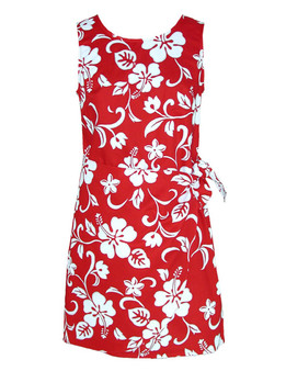 Women's Sarong Short Dress Classic Hibiscus 100% Cotton Fabric Back Zipper Tummy Concealing Front Panel Waist Adjustable Side Tie Machine Wash Cold Color: Red Sizes: XS-2XL Made in Hawaii - USA