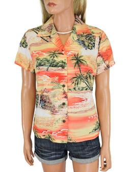 Women's Hawaiian Shirt Island Paradise 100% Rayon Fabric Slimming Darted Back Cap Sleeves Comfortable Fit Design Coconut Shell Buttons Multi Color Selection Color: Orange Sizes: S - 2XL Made in Hawaii - USA