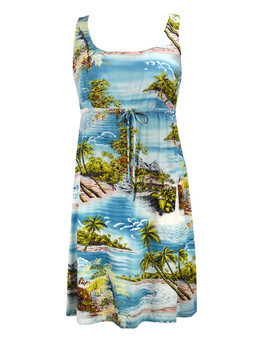 Adjustable Empire Waist Aloha Dress Island Paradise 100% Rayon Fabric Front String Tie Easy Adjustable Fit Square Neck Design Empire Drawstring Look Color: Blue Sizes: XS - 3XL Made in Hawaii - USA