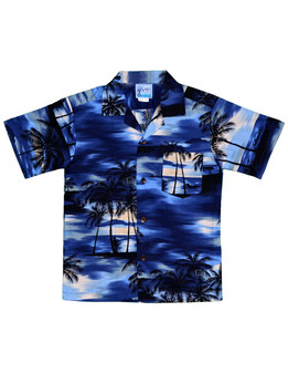 Boy's Hawaiian Shirt Island Sunrise 100% Cotton Fabric Open Pointed Folded Collar Genuine Coconut Buttons Machine Wash Cold Cool Iron Color: Blue Sizes: 2 - 16 Made in Hawaii - USA