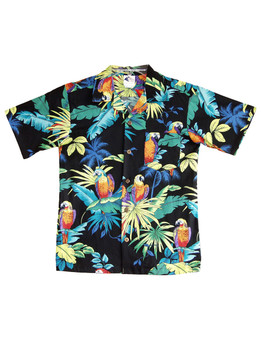 Boys Hawaiian Shirt Parrots Paradise 100% Cotton Fabric Open Pointed Folded Collar Genuine Coconut Buttons Machine Wash Cold Cool Iron Color: Black Sizes: 2 - 16 Made in Hawaii - USA