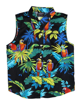 Sleeveless Tank Blouse Parrots Paradise 100% Cotton Fabric Collar Tank Top Blouse Curved Hemline Color: Black Sizes: XS - 3XL Made in Hawaii - USA