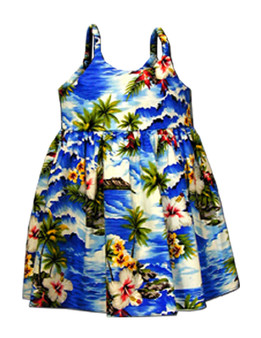 Surfing Hibiscus Girls Sundress 100% Cotton Fabric Color: Blue Sizes: 6 months - 2 - 8 Made in Hawaii - USA