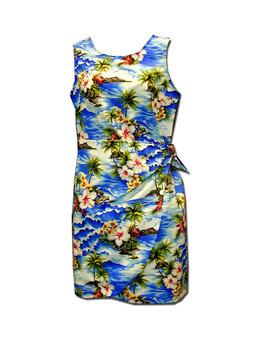 Hookipa Hibiscus Girls Aloha Sarong Dress  100% Cotton Fabric Tank Shoulder Straps Adjustable Waist Sarong Front Flap Back Zipper Color: Blue Sizes: 8 - 14 Made in Hawaii - USA