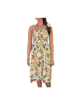 "Tube-Top Mid Length Hookipa Hibiscus Dresses 100% Cotton Fabric Color: Maize Length: 33"" (mid size) Size: One Size fits most From: S - 2XL Made in Hawaii - USA"
