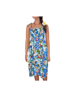 """Smock Hawaiian Dress Surfing Hibiscus 100% Cotton Fabric Color: Blue Length: 33"""" (mid size) Size: One Size fits most From: S - 2XL Made in Hawaii - USA"""
