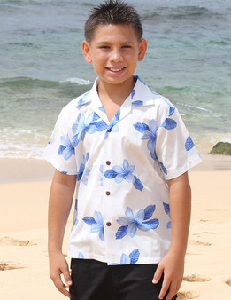 Hawaiian Cotton Boy's Shirt - Koala This Cotton Shirt for Boys comes with a vibrant Plumeria Design. Your Boy will look handsome at your fun tropical party! 100% Cotton Coconut shell buttons  Color: Blue Sizes: S - XL Made in Hawaii - USA