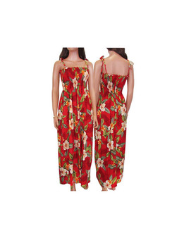 Ula Ula Hibiscus - Spaghetti Long Tropical Dresses 100% Rayon Color: Red Length: 47-48 Inches From Bustline Size: One Size fits most Made in Hawaii - USA