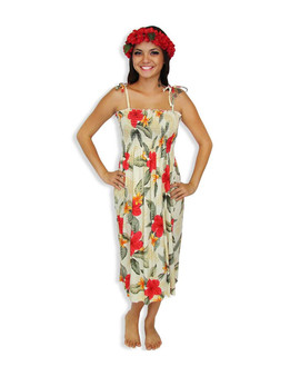 "Ula Ula Hibiscus Mid-length Spaghetti Dresses 100% Rayon Color: Cream Length: 33"" (mid size) Size: One Size fits most Made in Hawaii - USA"