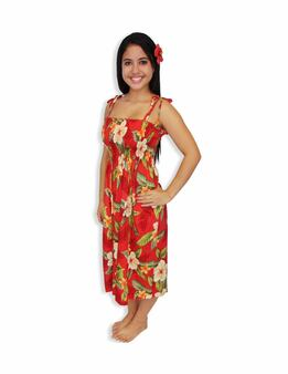 "Tube Top Midi Hawaiian Dress Kahula Hibiscus 100% Rayon Color: Red Length: 33"" (mid size) Size: One Size fits most Made in Hawaii - USA"