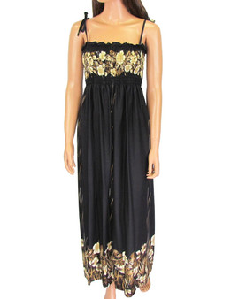 Long Maxi Black Aloha Dress Smock Top Mahea Design 100% Rayon Soft Fabric Top and Bottom Floral Design Secure and Confortable Spaghetti Straps Style to Wear Strapless Optional Length: 47-48 Inches From Bust Line Size: One Size Fits Most Color: Black Made in Hawaii - USA