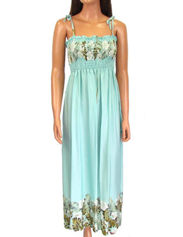 Hawaiian Aqua Dress Maxi Long Smock Top Mahea Design 100% Rayon Soft Fabric Top and Bottom Floral Design Secure and Confortable Spaghetti Straps Style to Wear Strapless Optional Length: 47-48 Inches From Bust Line Size: One Size Fits Most Color: Aqua Made in Hawaii - USA