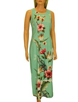 Long Maxi Hawaiian Dress Birds of Paradise Hibiscus Design 100% Rayon Poplin Long Maxi Fitted Style Round Neckline Covered Back Zipper Knee-high Side Slit Sizes: S - 3XL Color: Green Made in Hawaii - USA
