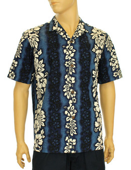 Luna Hawaiian Shirt for Men 100% Cotton Fabric Genuine Coconut Buttons Seamless Matching Left Pocket Color: Navy Sizes: S - 2XL Care: Machine Wash Cold, Cool Iron Made in Hawaii - USA