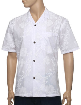 Wedding White Short Sleeve Shirt Lae Design - Limited Edition  Classic fit: Designed with little extra room from the chest to the body for relaxed comfort 35% Cotton 65% Polyester Fabrics with Print-Matched Left Chest Pocket and Wrinkle Resistant Short Sleeve Style with Genuine Coconut Shell Buttons Color: White Sizes: S - 3XL Machine wash cold, tumble dry low Made in Hawaii - USA