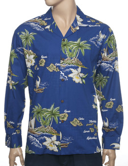Hawaii Islands Long Sleeve Aloha Shirt Royal Blue 100% Cotton Fabric Open Collar Modern Fit Coconut shell buttons Matching left pocket Color: Royal Blue Sizes: M - 2XL Made in Hawaii - USA