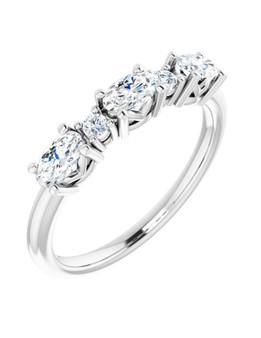 White 14K Gold Diamond Wedding Band Ku'uipo This 4mm white gold wedding band has 5 diamonds SI1, G-H color 1.00 CTW, a unque jewel!