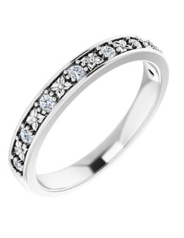 3mm Wedding Band White 14K Gold 8 Diamonds Aloha Kakou This 3mm white gold 14k wedding band has 8 diamonds 1.7mm SI1, G-H color 1.6 CTW, surely a shine!