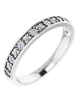3mm Wedding Band White 14K Gold 8 Diamonds Aloha Kakou This 3mm white gold 14k wedding band has 8 diamonds 1.7mm SI1, G-H color 1.6 CTW, surely a shine!