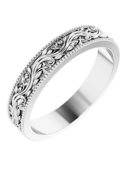 14K Wedding Band White Gold 4mm Maile Leis Etched Na'u'oe This 4mm 14k white gold wedding band with etched maile leis, distinctive tropical!