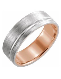 14K White & Rose Men Wedding band 7mm Matte Finish This 7mm wedding band for Men 14k white and rose gold with matte finish and comfort fit, the perfect union!