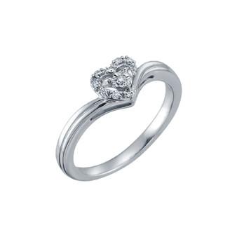Diamond Heart White Gold Promise Ring 10K White Gold Promise ring with .06 CT diamond total weight