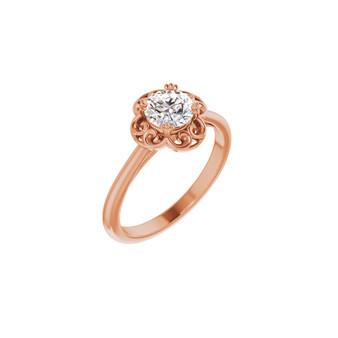 14K Rose Gold Engagement Ring Diamond Solitaire Lab-grown diamond VS1 clarity, H color, round diamond .75 CT TW Certified LG Diamond Certificate