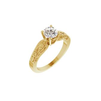 14K Yellow Gold Engagement Ring Hawaiian Flower Diamond Solitaire Lab-grown diamond VS2 clarity, G color, round diamond .75 CT TW Certified LG Diamond Certificate