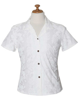 Fitted Women White Blouse Hibiscus Leis 100% Cotton Fabric Short Sleeves and Pointed Collar Front and Back Shaping Darts Coconut shell buttons Colors: White Sizes: S - 2XL Care: Machine Wash Cold, Cool Iron Made in Hawaii - USA