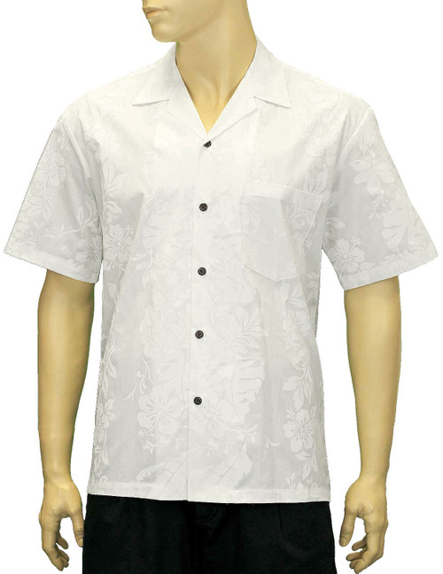 100% Cotton Fabric Open Pointed Folded Collar Genuine Coconut Buttons Seamless Matching Left Pocket Color: White Sizes: S - 4XL Care: Machine Wash Cold, Cool Iron Made in Hawaii - USA