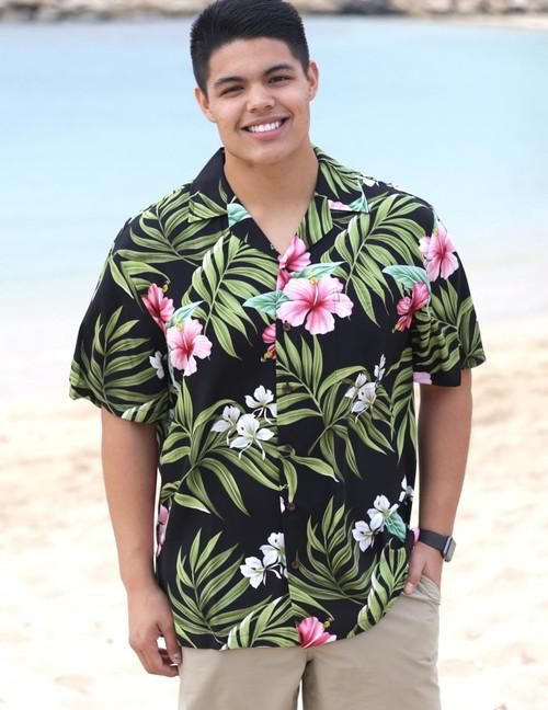 Short Sleeves Hawaiian Shirt Rayon Nalani 100% Rayon Fabric Coconut shell buttons Matching left pocket Colors: Black Sizes: S - 3XL Made in Hawaii - USA