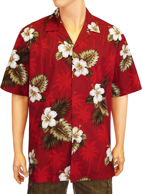 Men's Ka Pua Aloha Cotton Shirt 100% Cotton Fabric Coconut Shell Buttons Matching Left Pocket Colors: Red Sizes: S - 4XL Made in Hawaii - USA