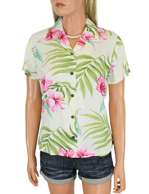 Rayon Hawaiian Shirt for Women Nalani Design 100% Rayon Fabric Slimming Darted Back Bust Dart Cap Sleeves Comfortable Fit Design Coconut Shell Buttons Multi Color Selection Colors: Beige Sizes: S - 2XL Made in Hawaii - USA Matching Items Available