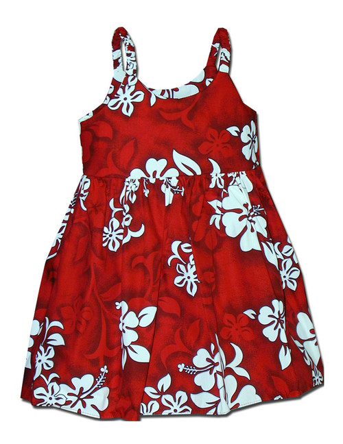 Hawaiian Baby Dress Tropical Hibiscus 100% Cotton Fabric Colors: Red Sizes: 6 months- 2 - 8 Made in Hawaii - USA