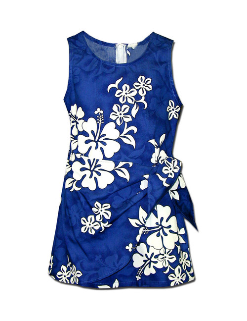 Girl Sarong Aloha Dress Tropical Hibiscus 100% Cotton Fabric Tank Shoulder Straps Adjustable Waist Sarong Front Flap Back Zipper Colors: Blue Sizes: 8 - 14 Made in Hawaii - USA