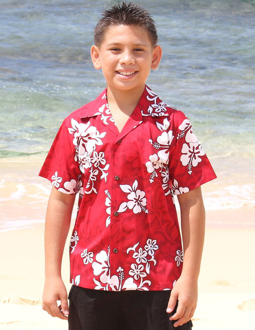 Boys Aloha Shirt Tropical Hibiscus 100% Cotton Fabric Coconut shell buttons Color: Red Sizes: S - XL Care: Machine Wash Cold, Cool Iron Made in Hawaii - USA
