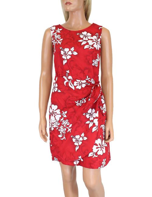Short Hawaiian Dress Sarong Tropical Hibiscus 100% Cotton Fabric Colors: Blue, Red Sizes: S - 2XL Back Zipper Made in Hawaii - USA