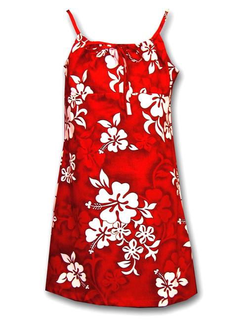 Girls Hawaiian Spaghetti Dress Tropical Hibiscus 100% Cotton Fabric Adjustable Straps Color: Red Sizes: 8 - 14 Made in Hawaii - USA