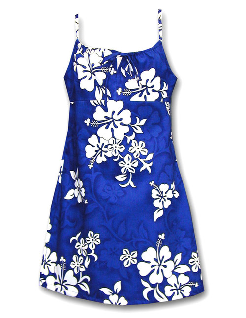 Girls Hawaiian Spaghetti Dress Tropical Hibiscus 100% Cotton Fabric Adjustable Spaghetti Straps Color: Blue Sizes: 8 - 14 Made in Hawaii - USA