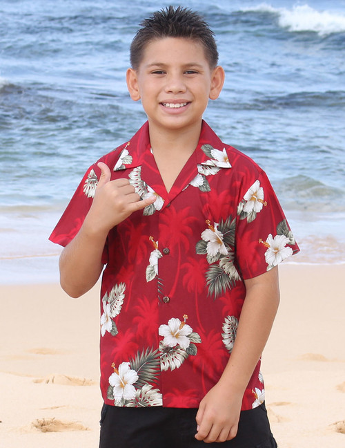 Ka Pua Boy's Aloha Shirt 100% Cotton Coconut shell buttons Machine Wash Cold Cool Iron Colors: Red Sizes: S - XL Made in Hawaii - USA Matching Items Available
