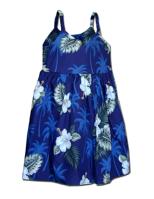 Ka Pua Baby Aloha Bungee Straps Dress 100% Cotton Colors: Navy Sizes: 6 months - 2 - 8 Made in Hawaii - USA Matching Items Available