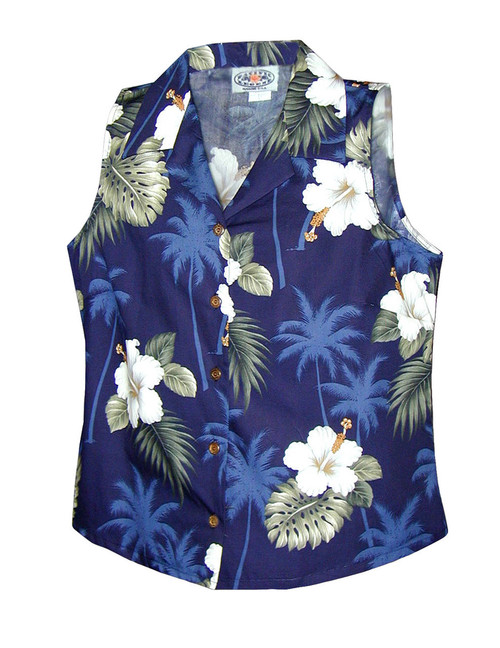 Ka Pua Floral Sleeveless Blouses 100% Cotton Coconut shell buttons Colors: Navy Sizes: S - 2XL Made in Hawaii - USA Matching Items Available