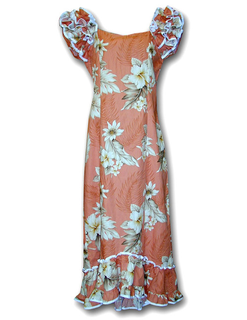 Hawaiian Long Ruffle Muumuu Lanai Dress Long Maxi Muumuu Style Shoulders and Hem Ruffles Elastic Shoulders and Sleeves Design Form-fitted Dress with Back Zipper Short Fishtail Train 100% Cotton Fabric Colors: Peach Sizes: XS - 2XL Machine Wash, Iron and Steam Safe Made in Hawaii - USA