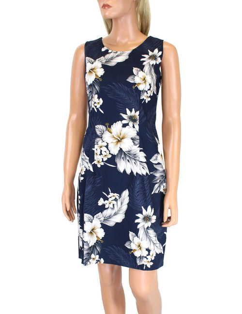 Short Hawaiian Dress Sleeveless Sunflower Hibiscus 100% Cotton Fabric Care: Machine Wash Cold, Cool Iron Sleeveless Tank Short Style with Back Zipper Colors: Navy Sizes: S - 2XL Made in Hawaii - USA