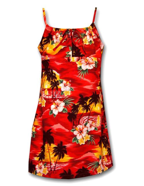 Island Sunset Girls Hawaiian Spaghetti Dress 100% Cotton Fabric Adjustable Straps Color: Red Sizes: 8 - 14 Made in Hawaii - USA