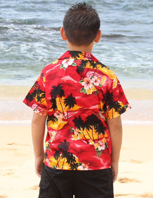 a028d776 ... Hawaiian Sunset View Boy's Shirts 100% Cotton Coconut shell buttons  Machine Wash Cold Cool Iron
