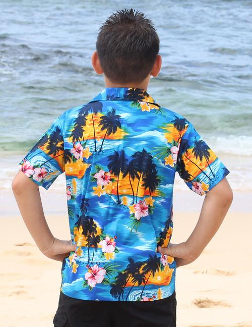 0b3d32b1 ... Hawaiian Sunset View Boy's Shirts 100% Cotton Coconut shell buttons  Machine Wash Cold Cool Iron ...