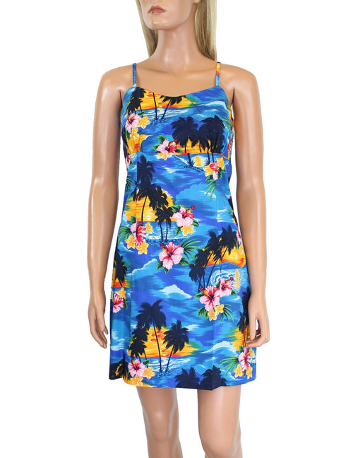 Island Sunset Short Spaghetti Hawaiian Dress 100% Cotton Fabric Adjustable Straps and Back Zipper Colors: Blue Sizes: S - XL Made in Hawaii - USA